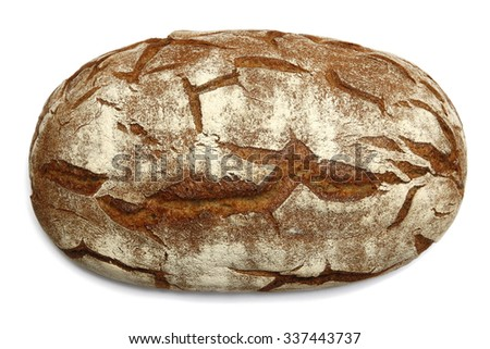 Large Oval Loaf Of Brown Bread With Cracks Isolated Closeup Image On White Background
