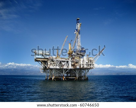 Large Pacific Ocean offshore oil rig drilling platform off the southern coast of California. Circa 2007. - stock photo