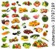 large page of bio fruits and vegetables on white background - stock photo