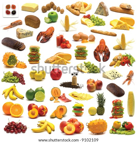 large page of food assortment on white background - stock photo