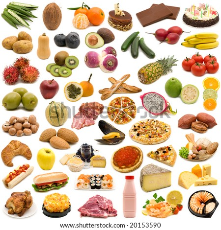 large page of food on white background - stock photo