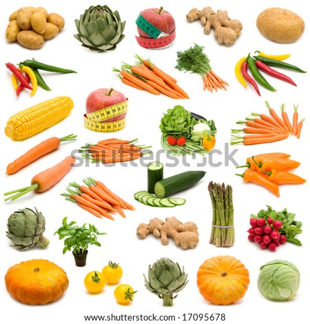 large page of fresh vegetables on white background - stock photo
