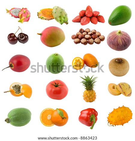large page of fruits and nuts on white