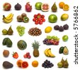 large page of fruits and nuts on white background - stock photo