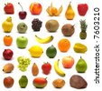 large page of fruits on white background - stock photo