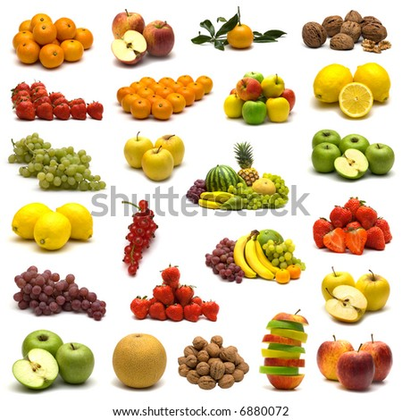 large page of fruits on white background - stock photo