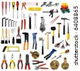 large page of tools on white background - stock photo