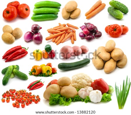 large page of vegetables isolated on the white