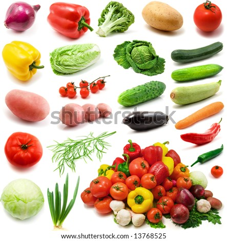large page of vegetables isolated on the white background - stock photo