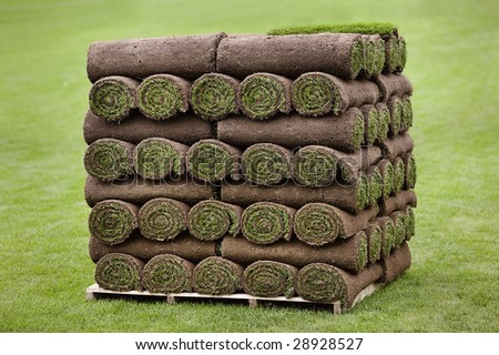 Large pallet of rolled turf ready for delivery - stock photo