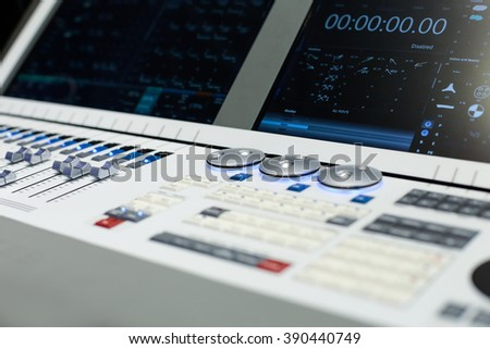 Large panel of the white Hi-End stage controller - closeup background
