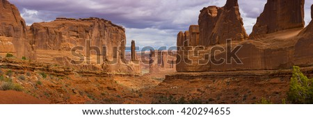 Large Pano Panoramic Park Avenue view of Arches National Park scenic landscape view red rock - stock photo