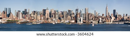 Large Panorama of Mid-Town Manhattan & Hudson River. - stock photo