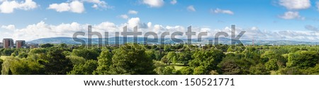 Large panorama of Phoenix Park in Dublin and Wicklow Mountains - stock photo