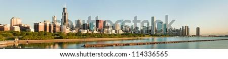 Large panorama of the Chicago Skyline and Lake Michigan - stock photo