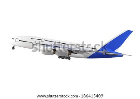 Large passenger airplane isolated on white background - stock photo