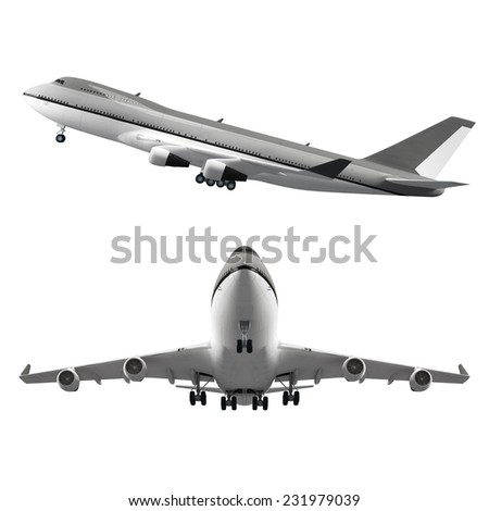 Large passenger airplane set isolated on white background