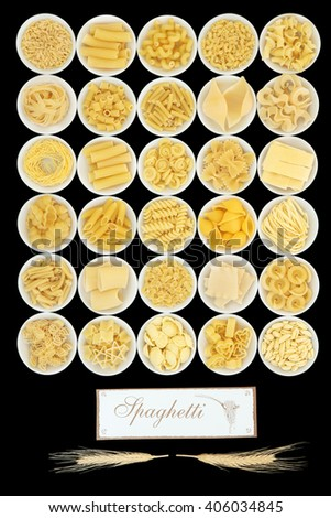 Large pasta collection with spaghetti sign and wheat over black background. - stock photo