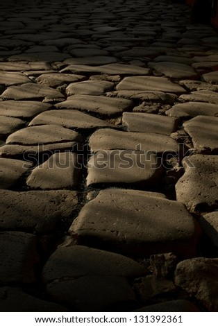 Large Pavement Stones, Rome, Italy - stock photo