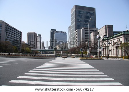 Large pedestrian crossing in Osaka (Japan) - stock photo