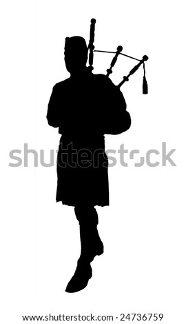 Large photo of isolated silhouette of bagpipe player - stock photo