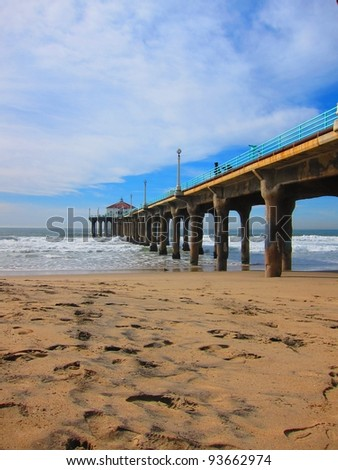 large pier after a large storm - stock photo