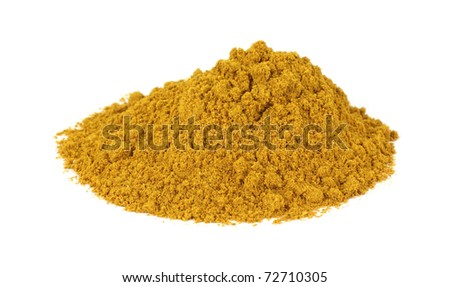 Large pile of curry powder on a white background.