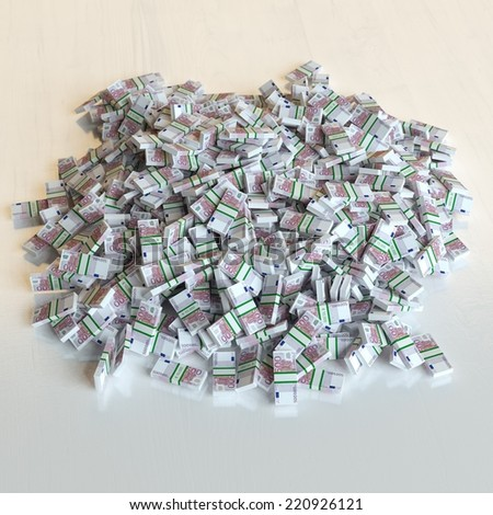 Large Pile of Euro Money (Financial Concept) - stock photo