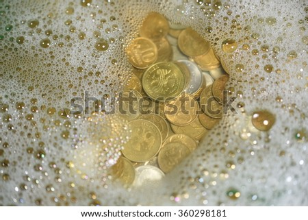 large pile of old, dirty coins  - stock photo