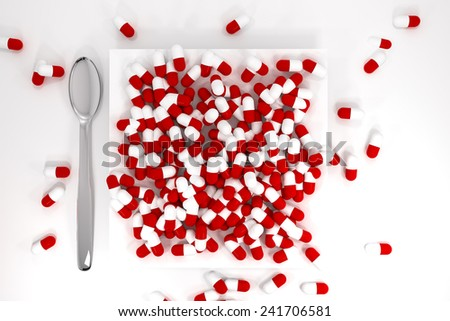 large pile of red colored pills on white plate silver spoon - stock photo