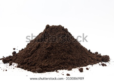 Large pile of soil on the white background.