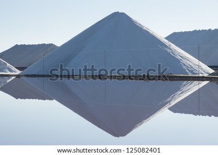 Large piles of salt at Sea water salt plant, Torrevieja, Alicante, Spain, Europe