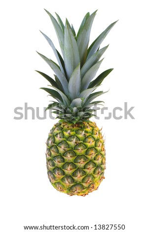 large pineapple with green leaves isolated on white background