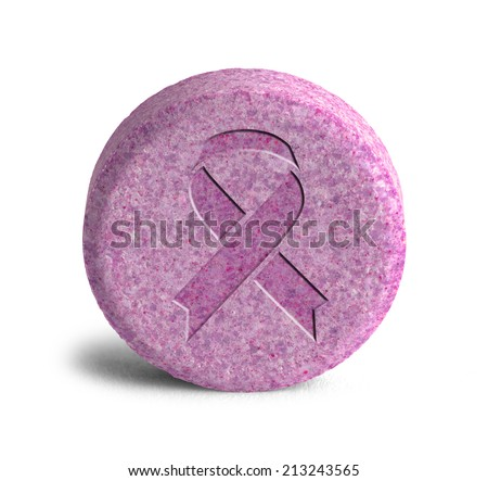 Large Pink Pill with Breast Cancer Ribbon Isolated on White Background. - stock photo