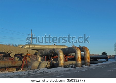Large pipelines along the road