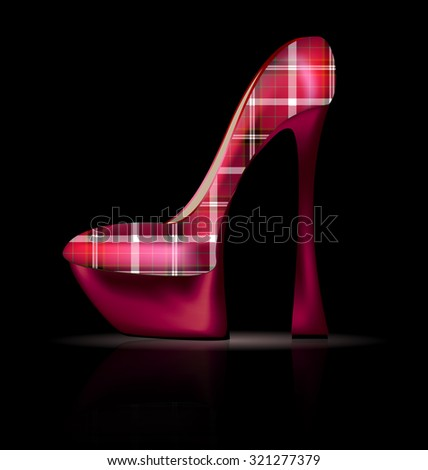 large plaid shoe - stock photo