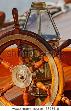 Large plan on part of an old sailing boat - stock photo