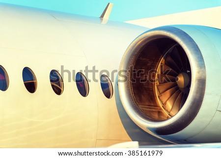 Large plane engine turbine blade - stock photo