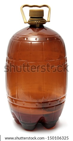Large Plastic brown bottle of beer isolated on white background - stock photo