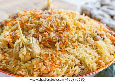 Large plate of Pilaf with garlic