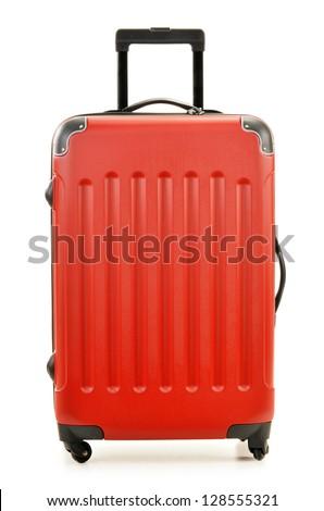 Large polycarbonate suitcase isolated on white - stock photo