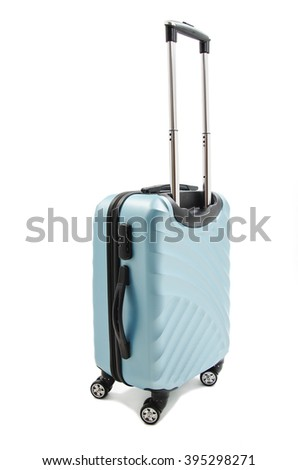 Large polycarbonate suitcase. Isolated on white background - stock photo