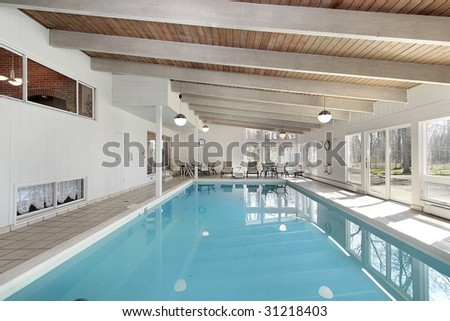 Large pool in luxury home - stock photo