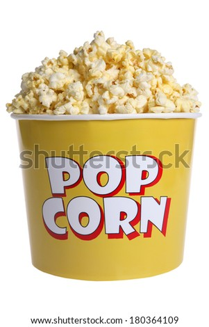 Large popcorn bucket on white background - stock photo