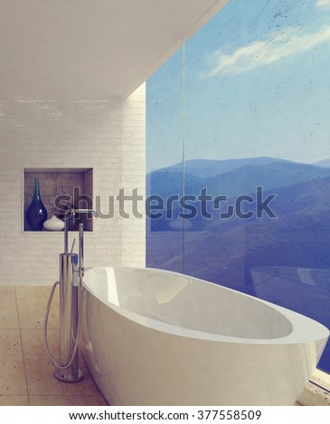 Large porcelain bathtub in spacious luxury bathroom decorated with glassware and pictures on marble floor facing mountains in wide window. 3d Rendering. - stock photo