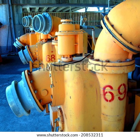 Large pumps and machines for sewage collection - stock photo