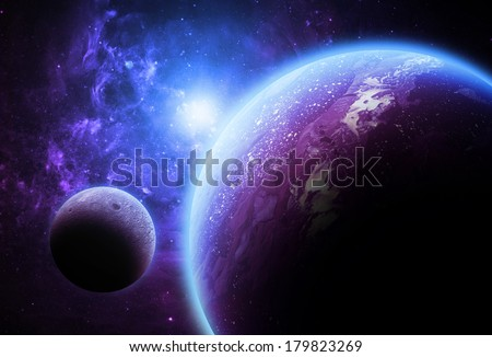 Large Purple Planet and Moon - Elements of this Image Furnished by NASA - stock photo
