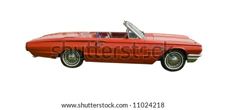 large red, American antique convertible on white - stock photo