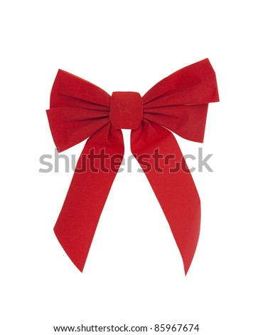Large red Christmas bow - stock photo