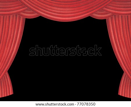 Large red curtain opening with black background - stock photo